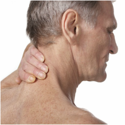 Older Man Holding Neck